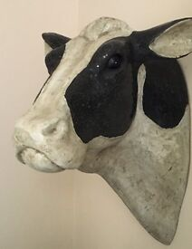 Shabby Vintage Chic Wall Mounted Cow Head Bust Wall Plaque