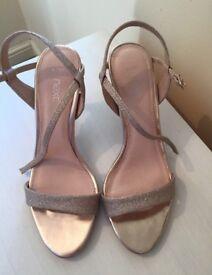 Next Gold Glitter Heels Size 4