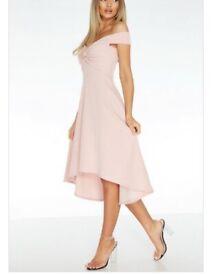 Dip hem blush pink dress