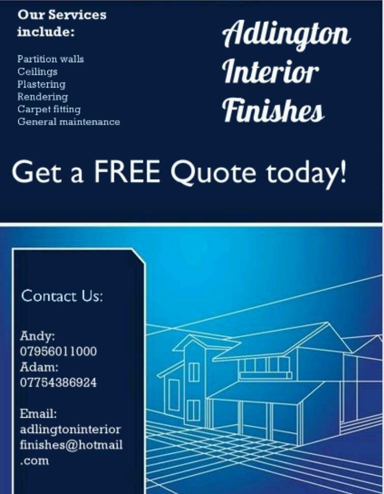 Partition walls, Ceilings, Plastering, Rendering, Carpet fitting