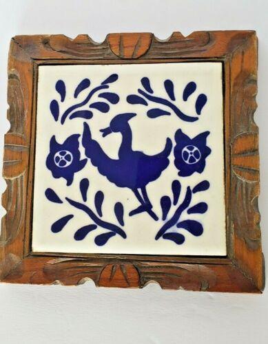 VINTAGE CARVED WOOD TRIVET ~ COBALT & WHITE FLORAL BIRD DAL-TILE MEXICO