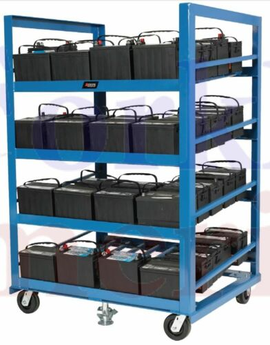 Industrial Automotive Battery Rack with Casters