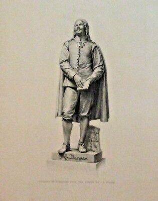 Statue, John Bunyan, by J.E. Boehm, Vintage 1874 Antique Art Print