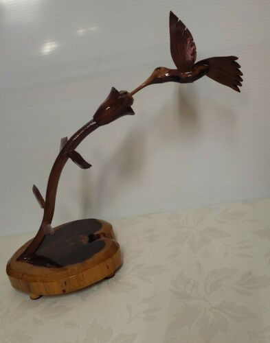 Crafted Wood Hummingbird Sculpture Sipping Hummingbird