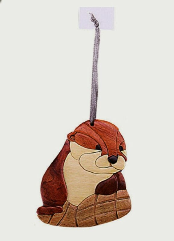 River Otter Wooden Intarsia Handmade Handcrafted Hanging Ornament