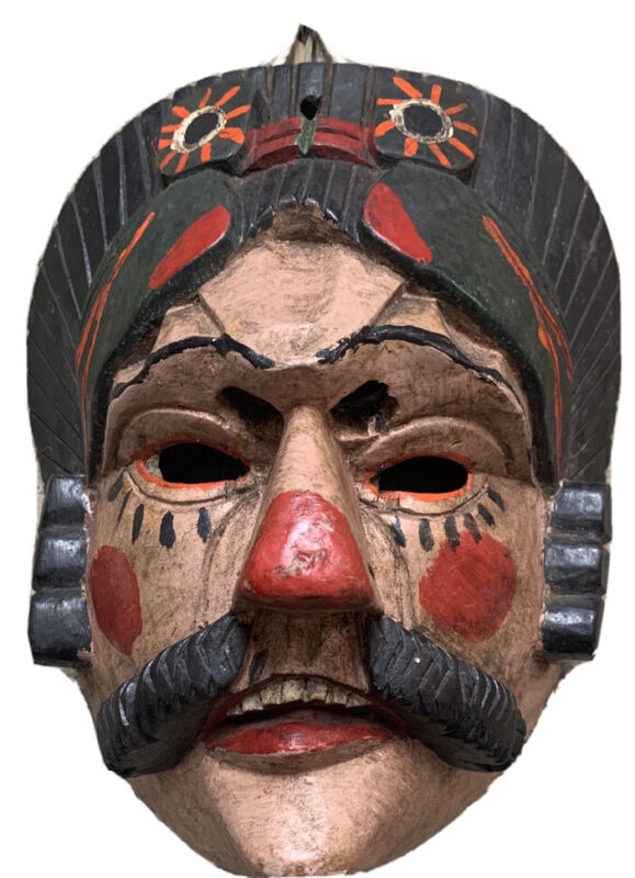 Vtg Ethnographic Wooden Mask from Guatemala Rare Hand Carved Ceremonial Man
