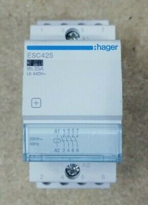 Hager ESC425 Contactor 25A 4 Pole Normaly Open 230v Coil for DIN...