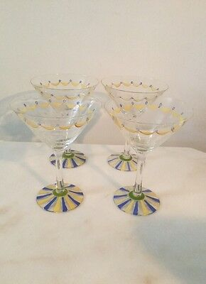 4 Hand Painted 6 Oz. Wine/Martini Glasses-Blue & Yellow Vintage.  #1820