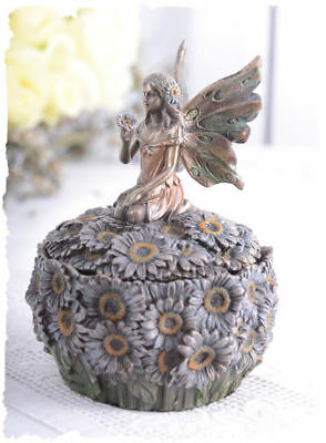 Lid Box Vintage Pillbox Elves Girls & Flowers in Art Nouveau Style Fairy Bronze