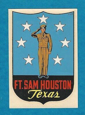"VINTAGE ORIGINAL 1947 SOUVENIR ""FORT SAM HOUSTON"" TEXAS TRAVEL WATER DECAL ART"