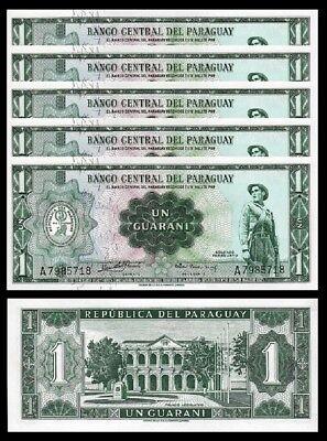 Paraguay 1 G 1952 Unc Consecutive 5 Pcs Lot P 193A Sign Rivarola Acosta 7 Digit
