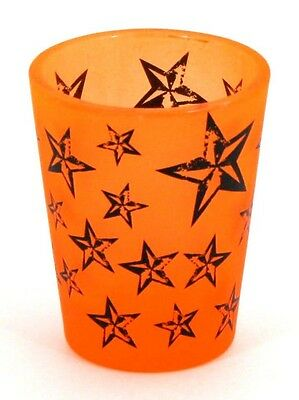 Neon Orange Nautical Star Black Light Reactive Shot Glass New   809