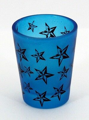 Neon Blue Nautical Star Black Light Reactive Shot Glass New   808