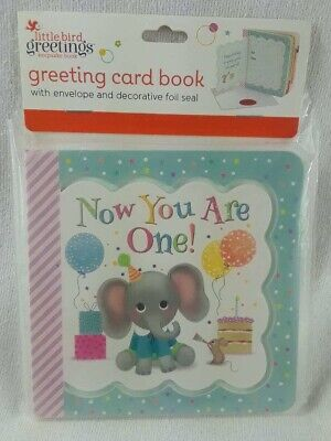 NIP Now You Are One 1 Elephant First Birthday Card Board Book Keepsake - 1st Birthday Board