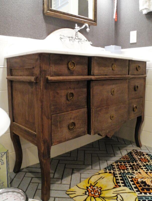 How to turn a dresser into a bathroom vanity ebay - Bathroom vanities from old dressers ...