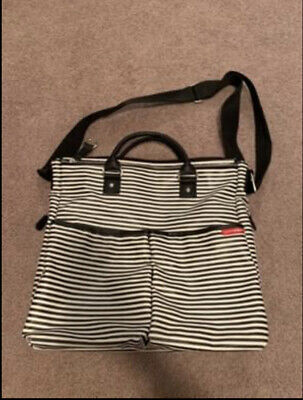 Skip Hop Striped Black/White Diaper Bag With Changing Pad - Hardly Used