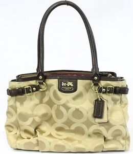 COACH NEW Beige Purse MADISON OP ART SATEEN KARA CARRYALL 22344 Satchel Bag $298