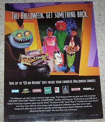 1999 print ad page -M&M's Snickers 3 Musketeers candy Halloween kids costumes AD - M&m Candy Costume