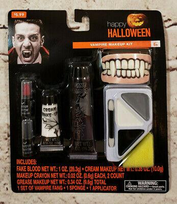 Happy Halloween Vampire Makeup Kit with Fake Teeth Theatrical Make Up Art - Make Halloween Makeup