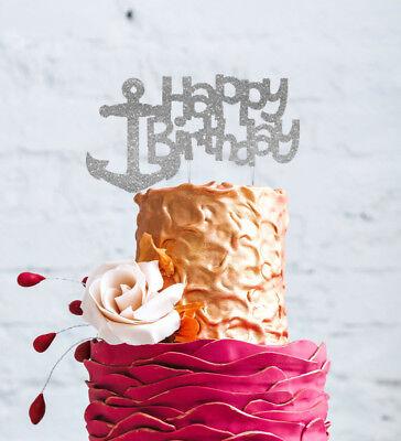 Happy Birthday Anchor Cake Topper - Glittery Silver Nautical Cake Decoration