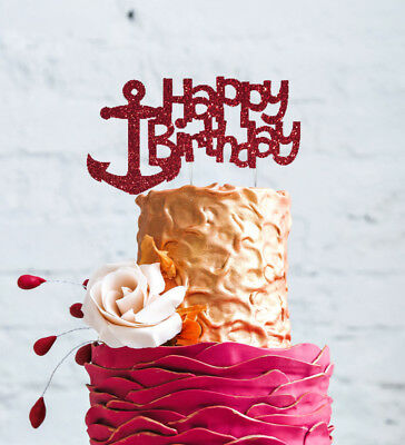Happy Birthday Anchor Cake Topper - Glittery Dark Pink Nautical Cake Decoration
