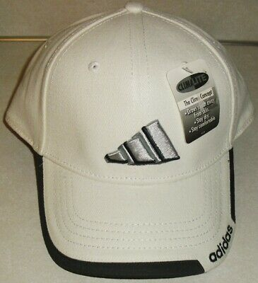 Adidas Logo Stretch fit Fitted hat (FITS Sz. 7 1/4-7 3/8) White/Dark Grey New!! Adidas Stretch Hat
