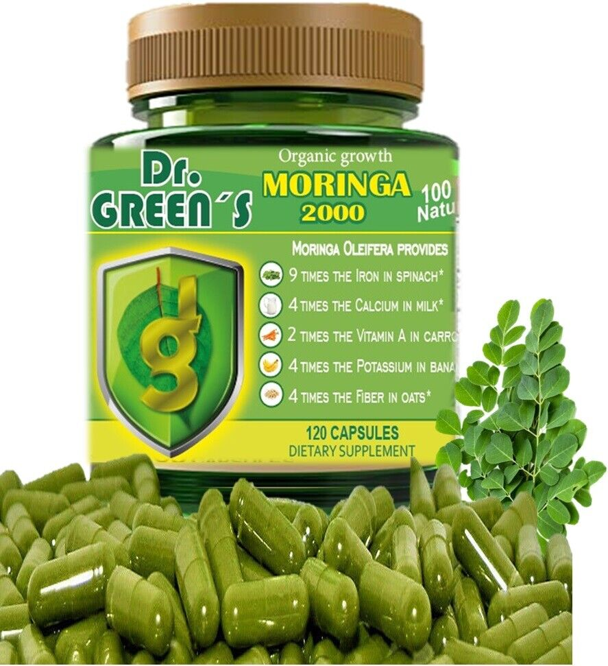 120 capsules MORINGA OLEIFERA LEAF powder 2000 -PHIL-  FREE SHIP pure moringa 1