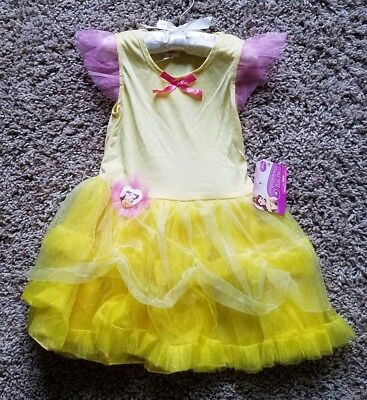 Disney Belle Tutu Dress NEW with Tags Girls Yellow with Pink Size S 4-6