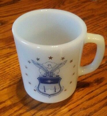 - UNITED STATES AIR FORCE ACADEMY Federal Milk Glass Mug made in USA excellent