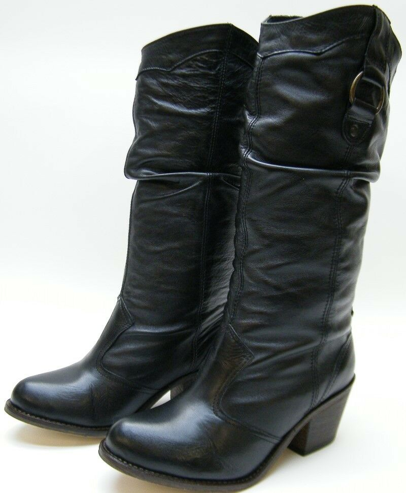 womens steve madden gammbble western slouch black leather
