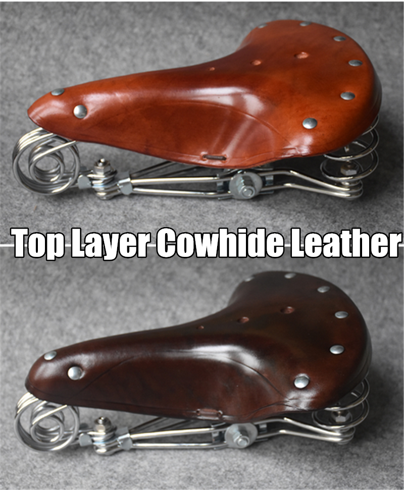 1 X Vintage Spring Genuine Leather Bike Saddle Retro Bicycle Cushion Wide Seat