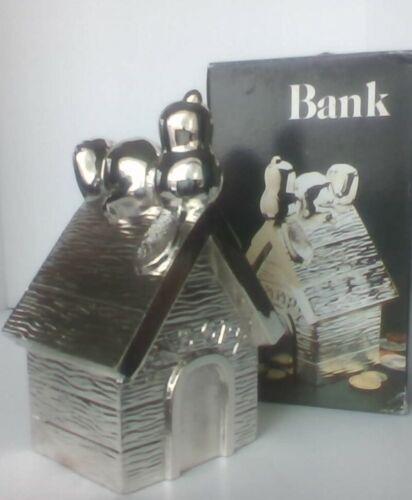 Vintage Peanuts Snoopy Leonard Silver Plate Bank Rare Excellent Con.