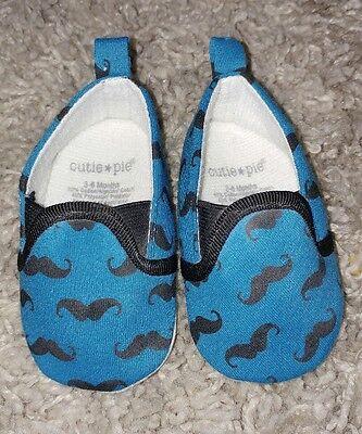 Cutie Pie Baby Size 3-6 Month Blue And Black Mustache Shoes (Crib Shoes) - Cutie Pie Shoes