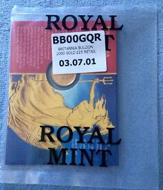 Royal Mint £25 Britannia Gold Bullion coin 22 Carat Gold Sealed 2000 & 2001