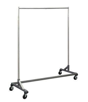 Kd 5 Ft Silver Portable Commercial Grade Z Rack Clothing Garment Clothes Rolling