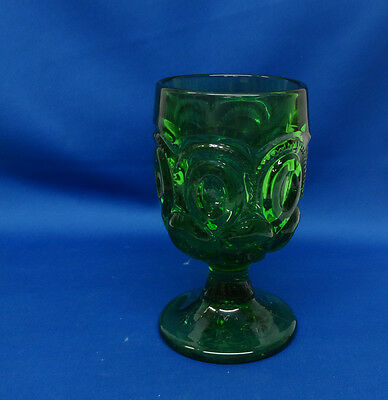 "Moon and Stars Dark Green 1 Goblet 9oz Height 6"" L.G. Wright"