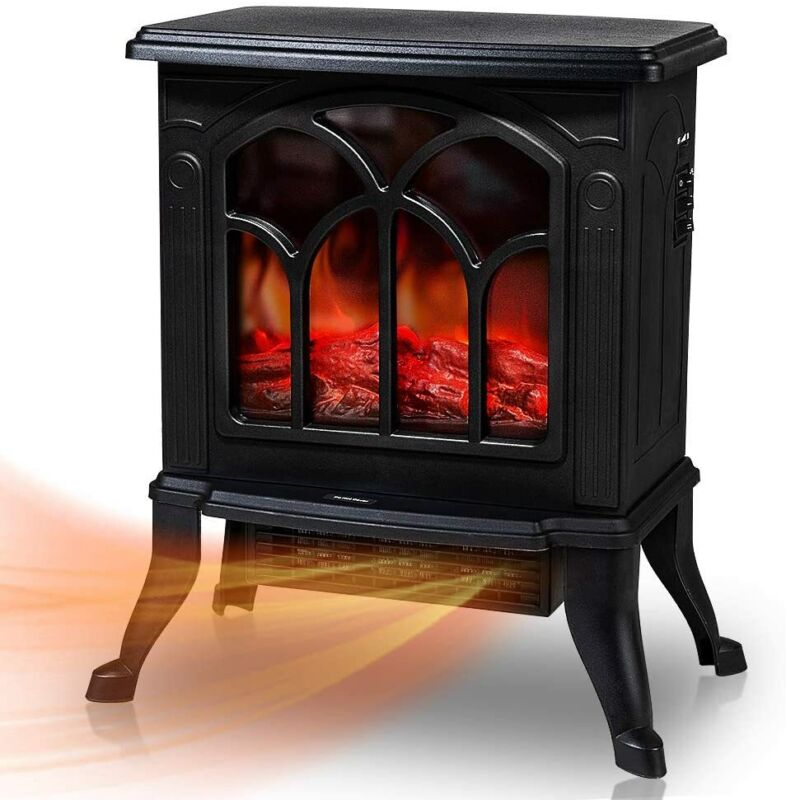 Electric Fireplace Stove Heater Stove Realistic Flame Overheat Safety 1500W