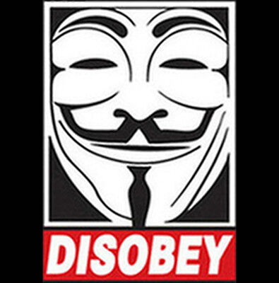Disobey Anonymous V For Vandetta Mask Occupy 99% Revolution Funny T-Shirt Tee - Occupy Masks