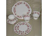 'COLCLOUGH' VINTAGE TEA SET FINE BONE CHINA - 'CASCADE ROSES' DESIGN, gold coloured edging, as new