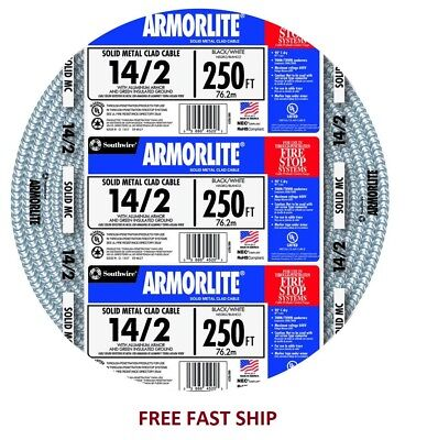 Southwire Armorlite 250ft 142 Solid Aluminum Mc Cable Wire Exposedwet