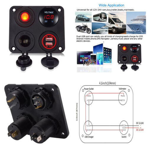 Red Digital Voltmeter Double USB Power Socket ON-OFF Toggle Switch for Car Truck