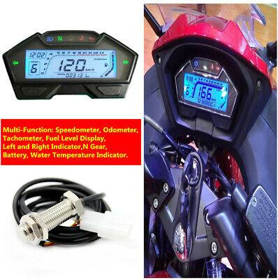 LCD MOTORCYCLE SPEEDOMETER ODOMETER TACHOMETER FUEL LEVEL N GEAR DISPL