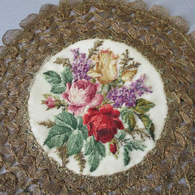 """Vintage 9"""" Doily Mat Micro Petit Point Hand Embroidery ROSES Gold METALLIC LACE"""