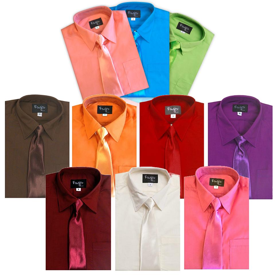 Dress Shirt Boys Children Kids Tie Solid Button Down Long Sl