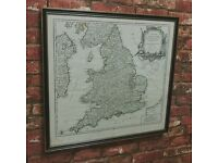 Stunning Antique framed map of England & Wales French c1793