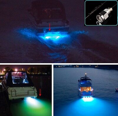 "Blue led 1/2"" NPT Underwater Boat Drain Plug Light with connector for fishing"