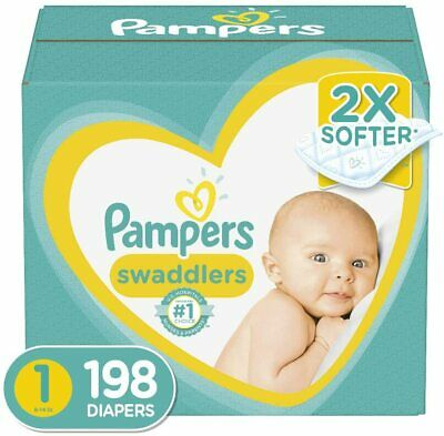 Diapers Newborn / Size 1 (8-14 lb), 198 Count - Pampers Swaddlers Disposable Bab