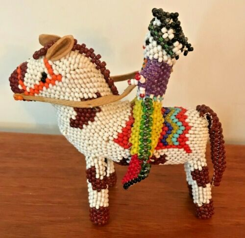 "Vintage Zuni Handmade Beaded Horse & Rider 4"" Tall"