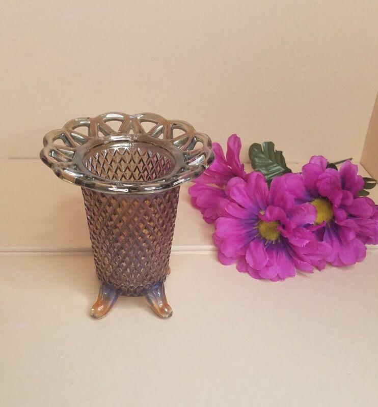 Vintage Imperial Glass Smokey Iridescent Lace Rim VASE Vasaline