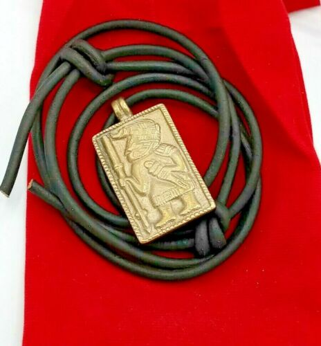 Viking Pendant 1.5 in Brass Norse with cord